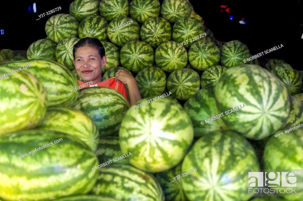 Stock Photo: Myanmar (formerly Burma). Kayin State (Karen State). Hpa An. Watermelon merchant.