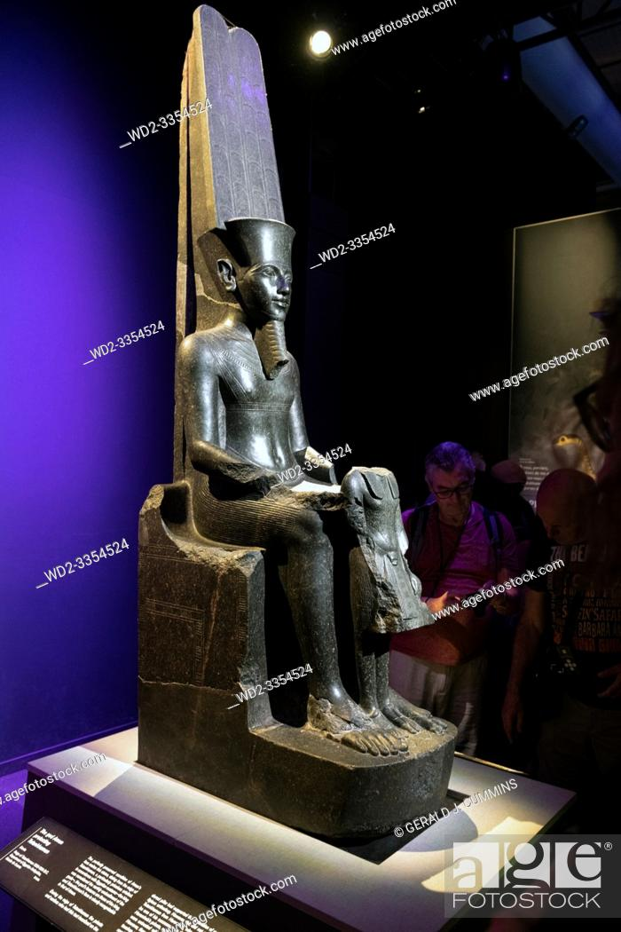 Stock Photo: Europe, France, Paris, 2019-06 : The Grande Halle La Villerre in Paris, people visit the exposition of 180 artifacts from the 18th dynasty.