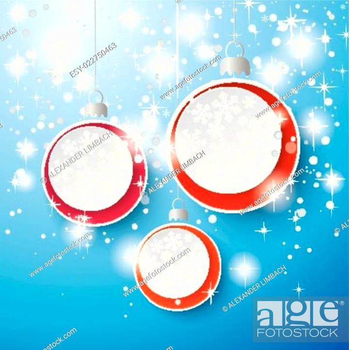 Stock Vector: Snow Stars Three Baubles Background.