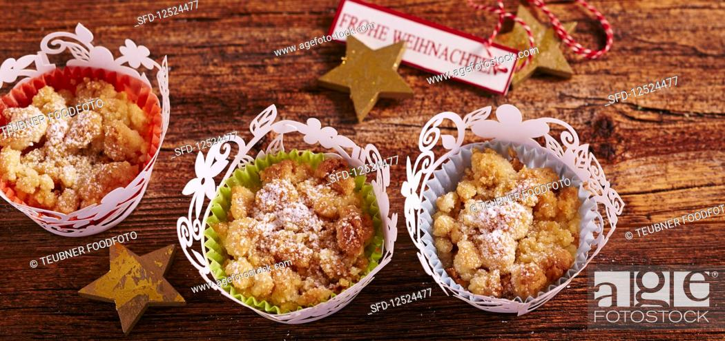 Small Apple Crumble Muffins In Paper Cups For Christmas Stock Photo Picture And Rights Managed Image Pic Sfd 12524477 Agefotostock