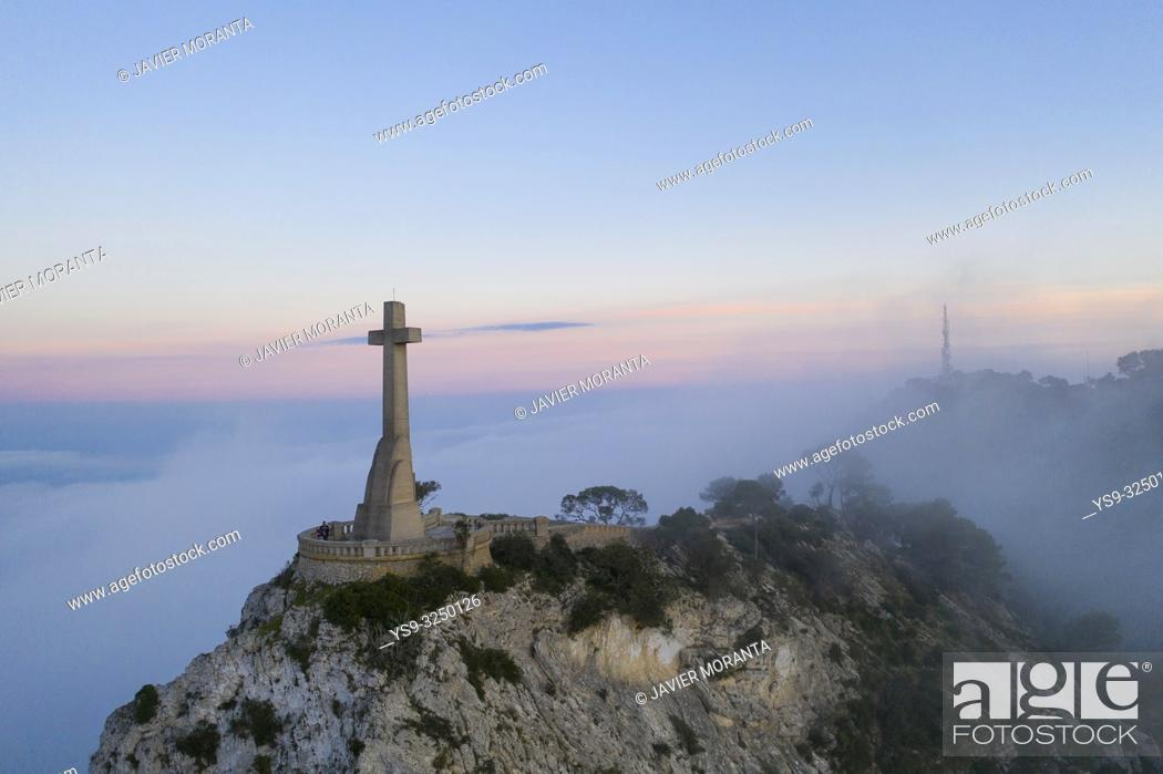 Stock Photo: Aerial image of the Cross of Sanctuary of San Salvador located in Felanitx, Mallorca.