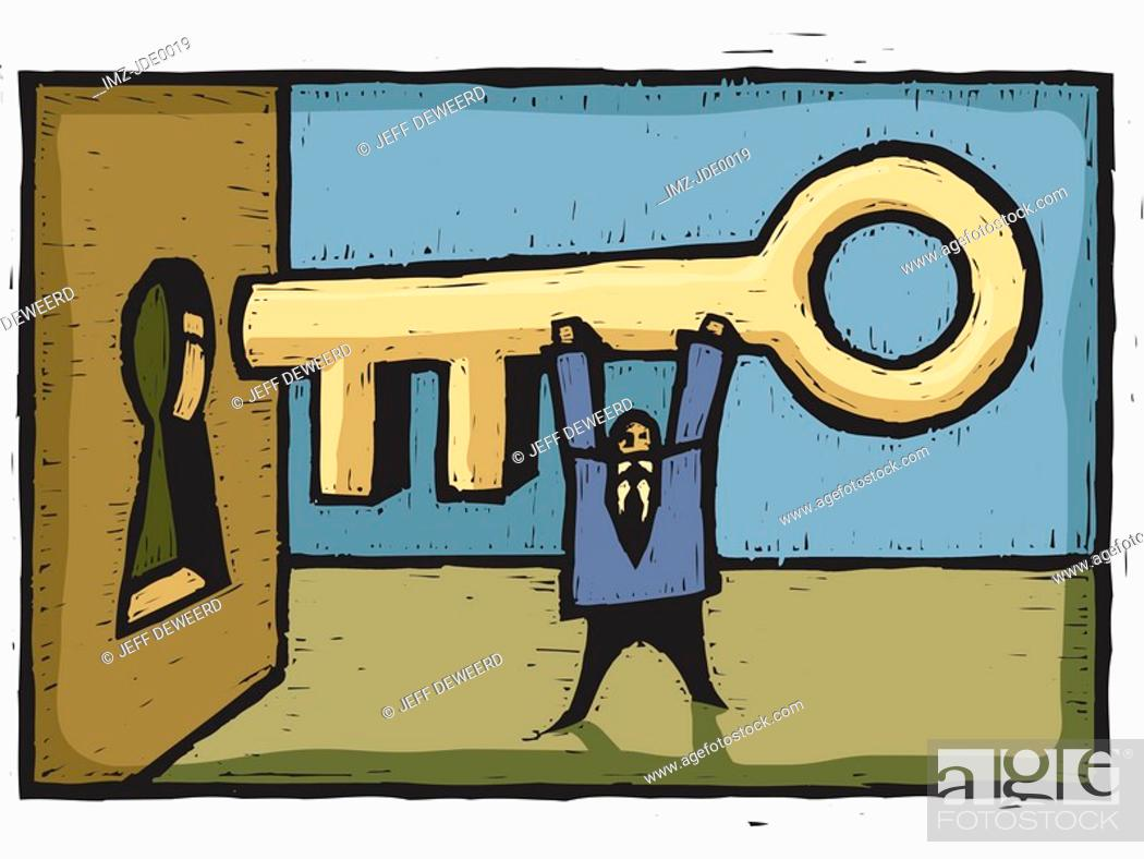 Stock Photo: A man inserting a giant key into the keyhole.