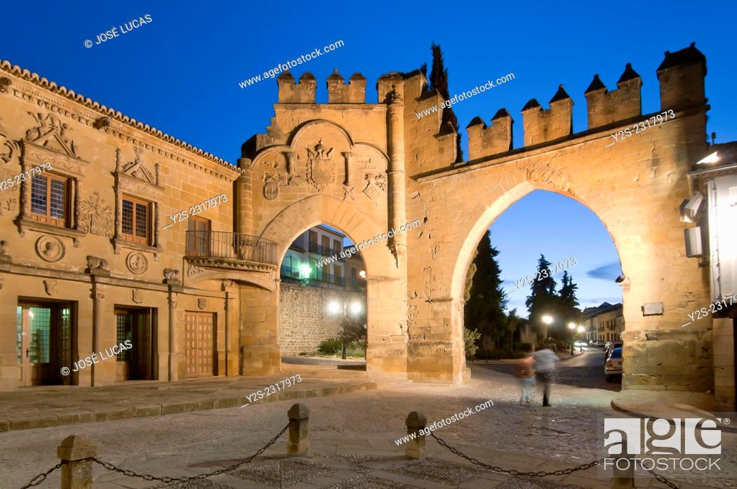 Stock Photo: Jaen door and Villalar arch, 16th century, Baeza, Jaen province, Region of Andalusia, Spain, Europe.