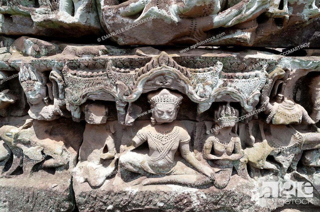 Stock Photo: Sculptural Relief, Bayon Temple, UNESCO World Heritage Site, Angkor, Siem Reap, Cambodia, Indochina, Southeast Asia, Asia.