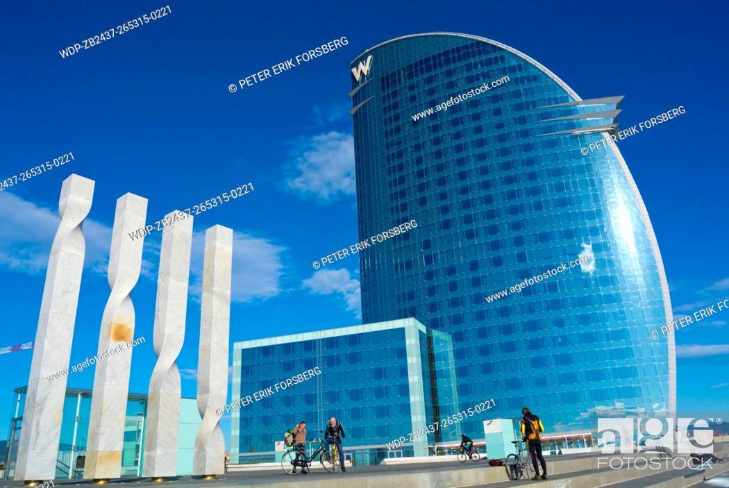 Stock Photo W Barcelona Hotel Exterior Placa De La Rosa Dels Vents Refurbished
