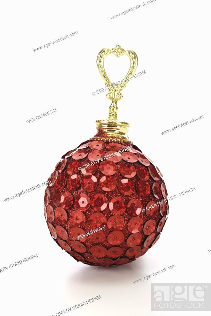 Stock Photo: Red Christmas Tree Ball.