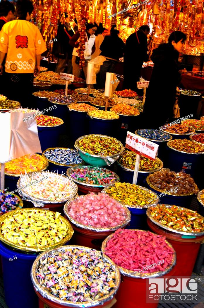Stock Photo: Candies at a market stall, Dihua Street, Taipei, Taiwan.