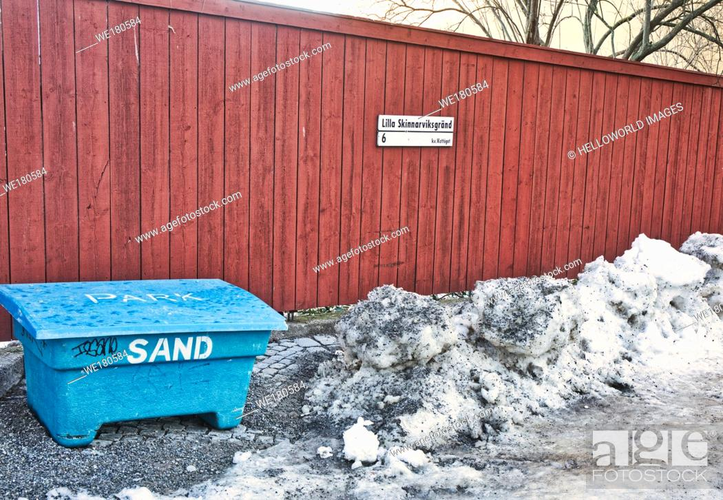 Stock Photo: Sandbox for gritting in winter, Lilla Skinnarviksgrand, Sodermalm, Stockholm, Sweden, Scandinavia. The alley got its name in 1806 from the tanneries located.