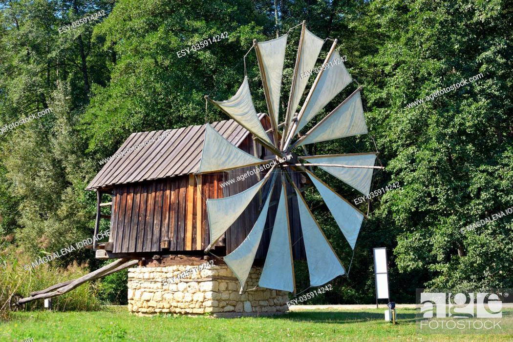 Stock Photo: Traditional old windmills in Astra Museum, Sibiu.