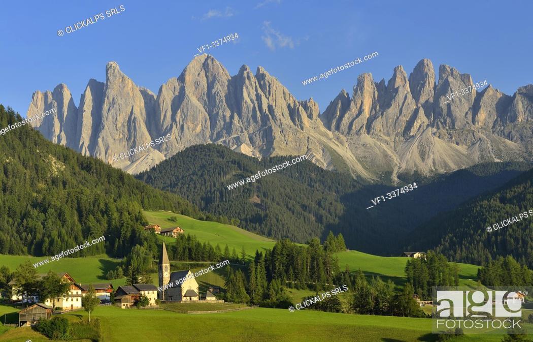 Stock Photo: puez odle, val di funes , bolzano province, trentino alto adige, italy, unesco world heritage site, .