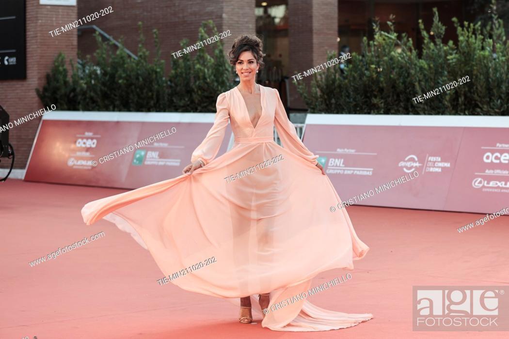 Stock Photo: Eleonora Pieroni on Red carpet of film 'Maledetta primavera' at the 15th Rome Film Festival, Rome, ITALY-21-10-2020.