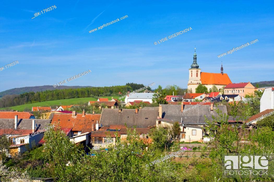 Stock Photo: Strílky with Church of the Assumption, Strilky, Kromeriz district, Zlin region, Moravia, Czech Republic, Europe.