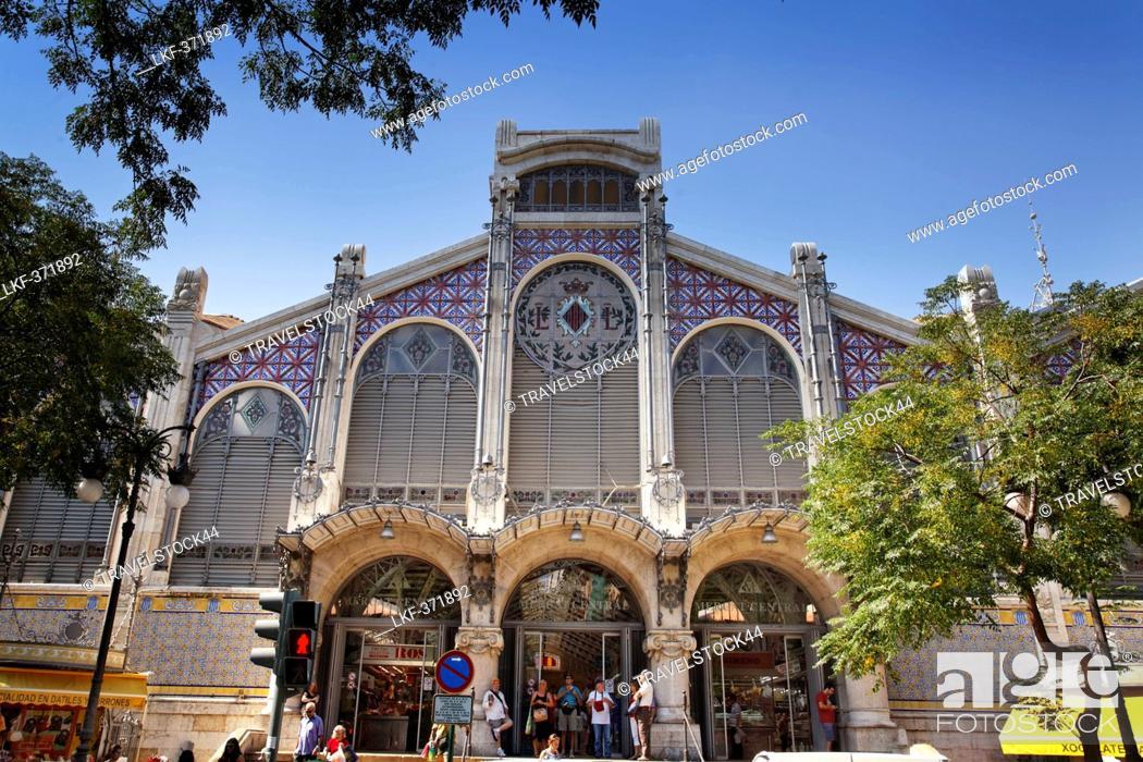 Stock Photo: View of Central market hall Mercado Central, Valencia, Spain, Europe.