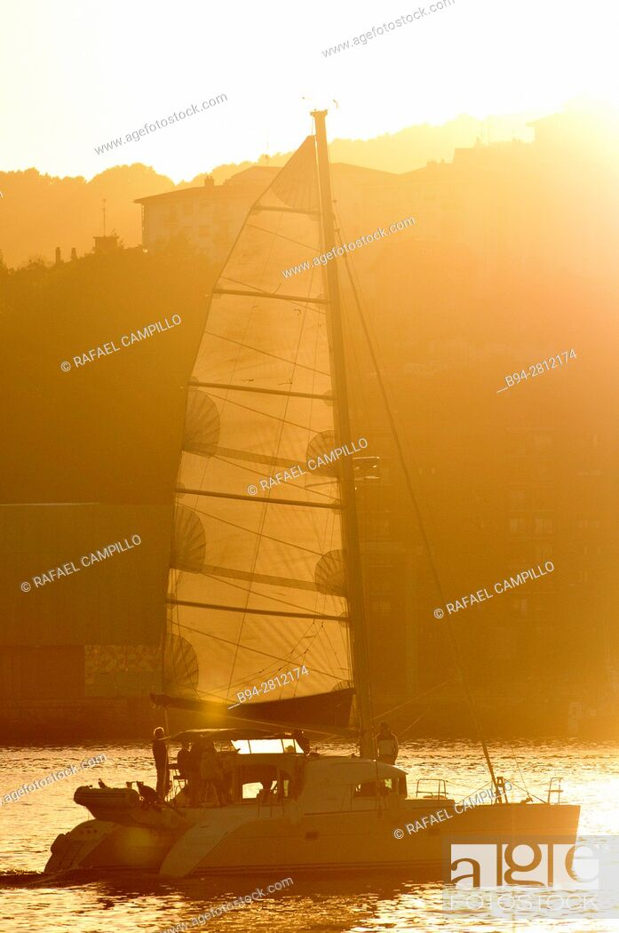 Stock Photo: Catamarán, multi hulled watercraft. Pasaia (Spanish: Pasajes) town and municipality located in the province of Gipuzkoa in the Basque Autonomous Community.