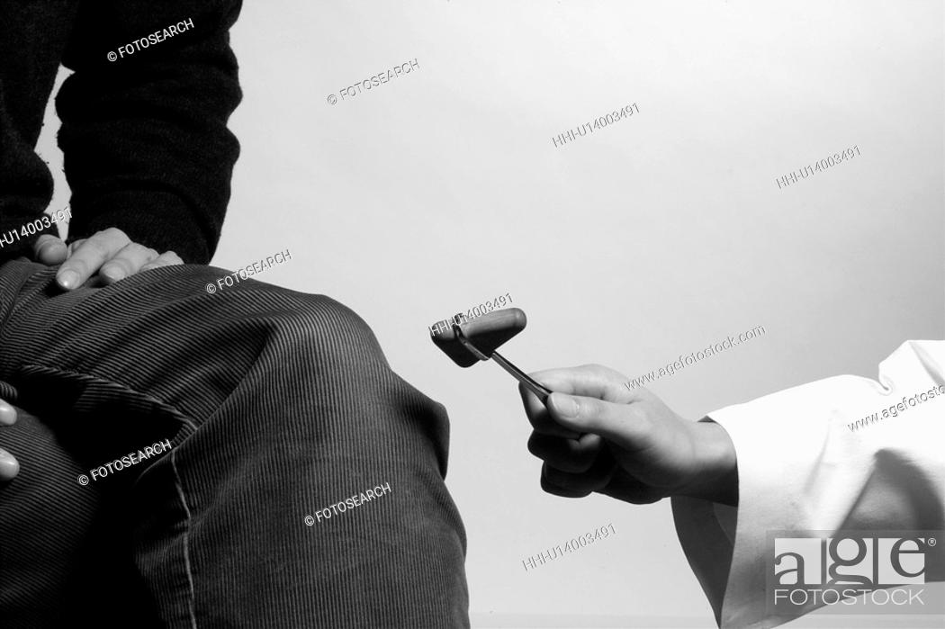 Stock Photo: examination, doctor, check up, medical equipment, reflex hammer, knee.