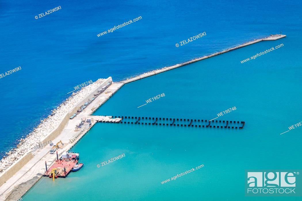 Stock Photo: Breakwater in Castellammare del Golfo small city over Tyrrhenian Sea in the Trapani Province of Sicily on Sicily Island, Italy.