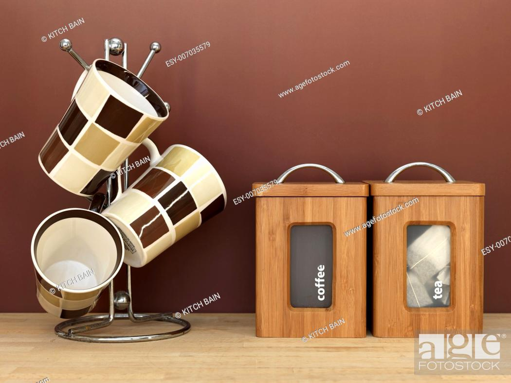 Stock Photo: A close up shot of kitchen items on a kitchen bendh.