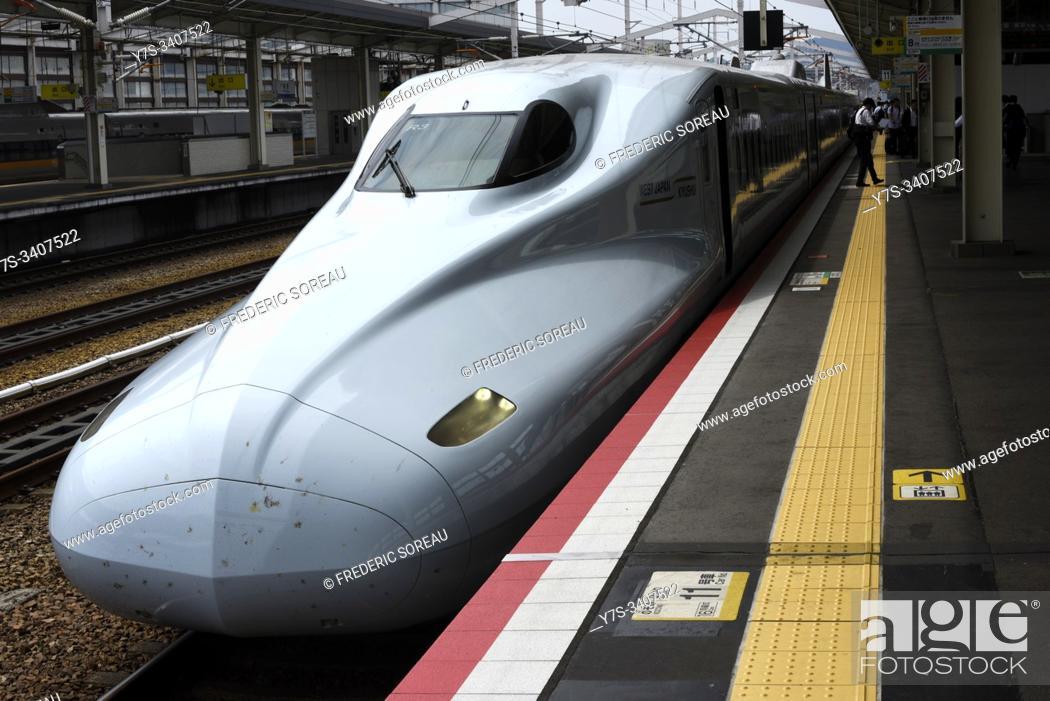 Stock Photo: Shinkansen, rapid train at Himeji railway station, Japan, Asia.