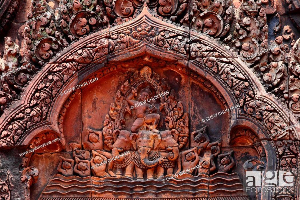 Stock Photo: Apsara, Banteay Srei temple, Angkor, Siem Reap, Cambodia.