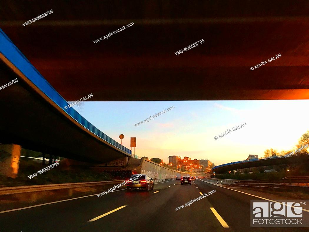 Stock Photo: M-30 motorway at dusk. Madrid, Spain.