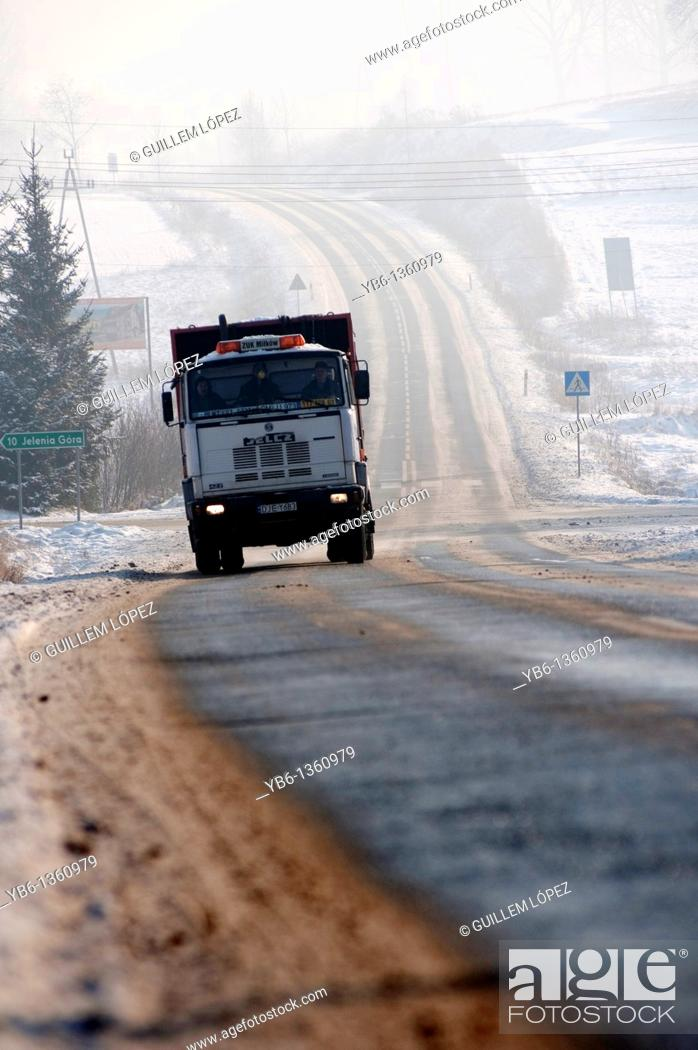 Stock Photo: truck circulating on an icy road  Jelenia gora, Poland.
