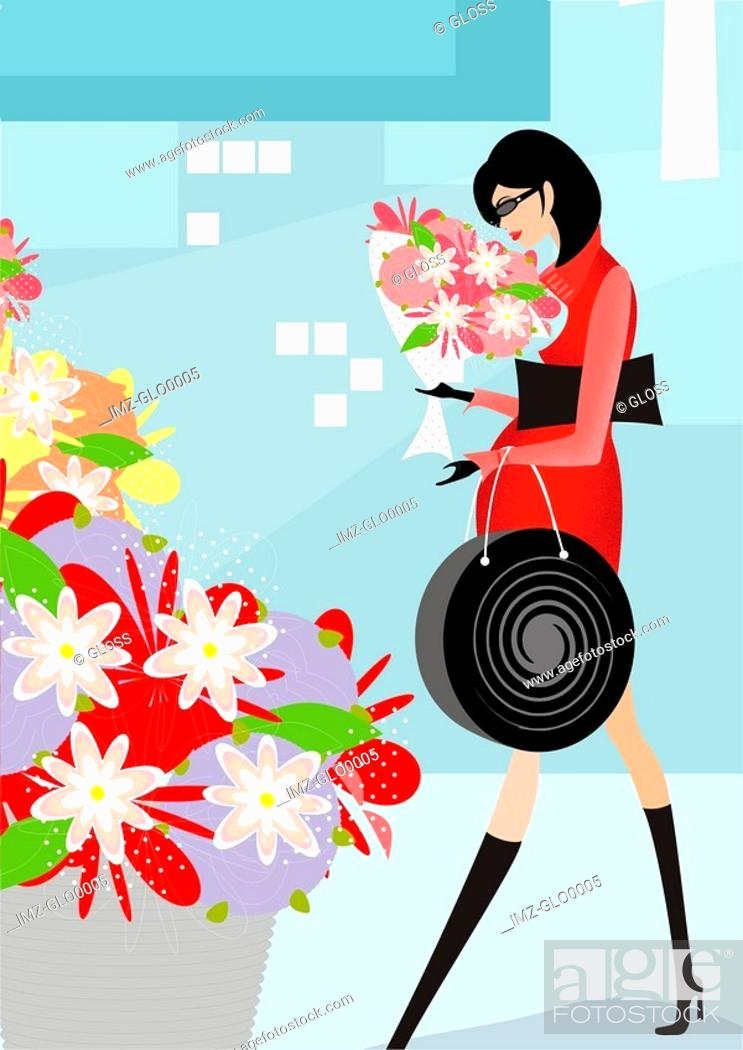 Stock Photo: A pregnant woman buying flowers.