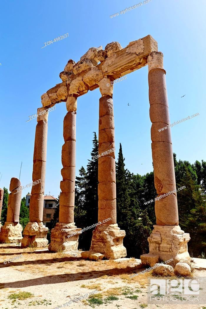 Stock Photo: Baalbek, Lebanon. Propylaea at the entrance of the Baalbek Temple Complex . / The Roman Temples of Baalbek are some of the best preserved Roman ruins.