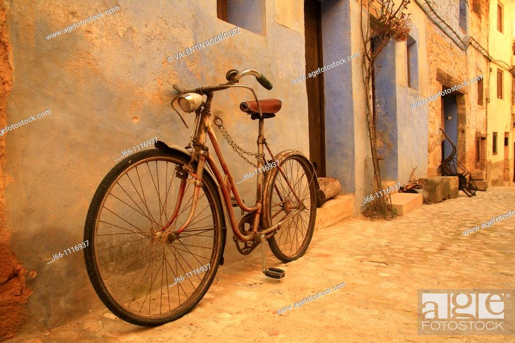 Stock Photo: Bike on street, Valderrobres, Matarraña, Teruel province, Aragon, Spain.