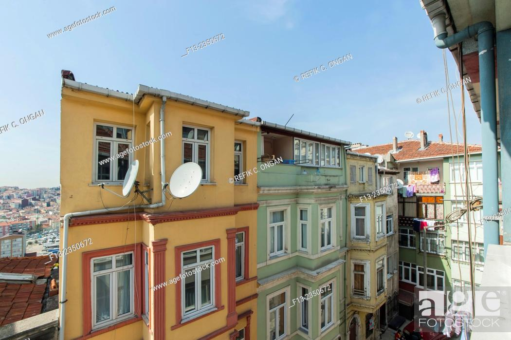 Stock Photo: Buildings in Istanbul the part of Tarlabasi. which is old part of Istanbul near centre of Taksim.