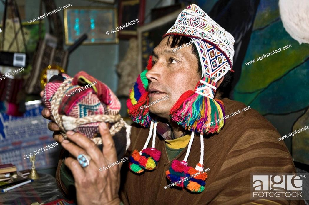 Stock Photo: Close-up of a mature man wearing traditional clothing, Huasao, Cusco Region, Peru.
