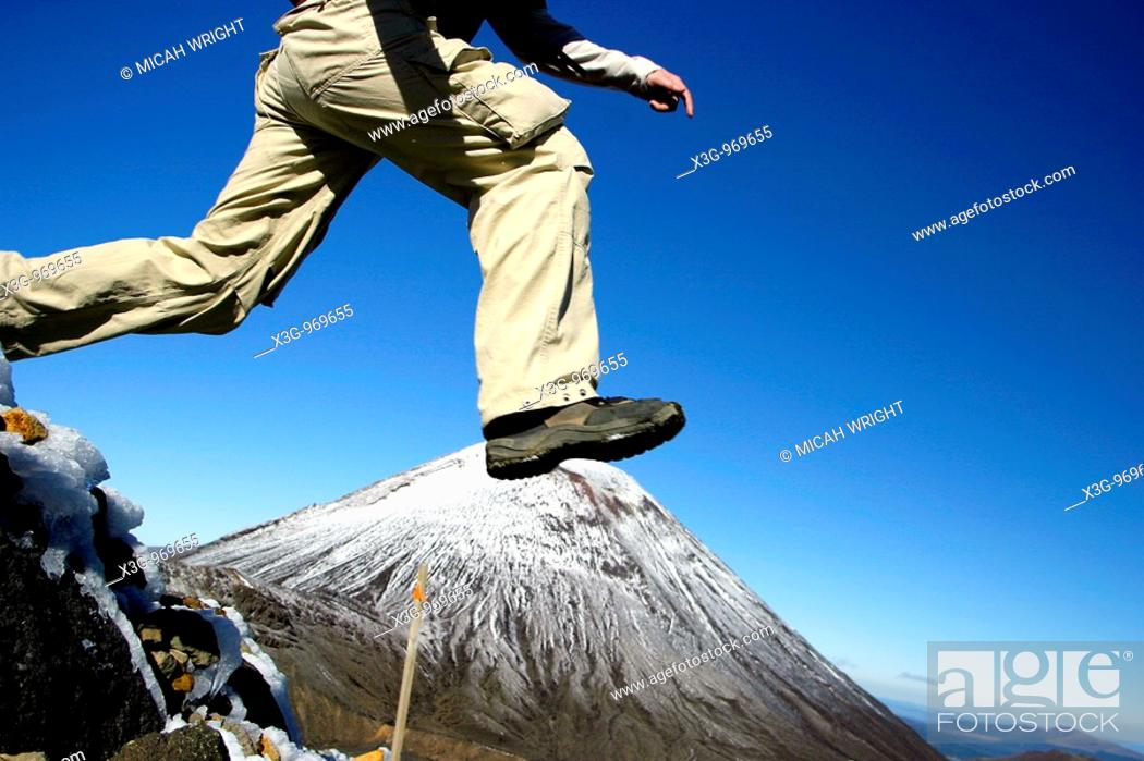 Stock Photo: The Tongariro Crossing is considered by many to be the finest 'one day walk' in New Zealand, if not the world. The trail takes hikers through a volcanic plateau.