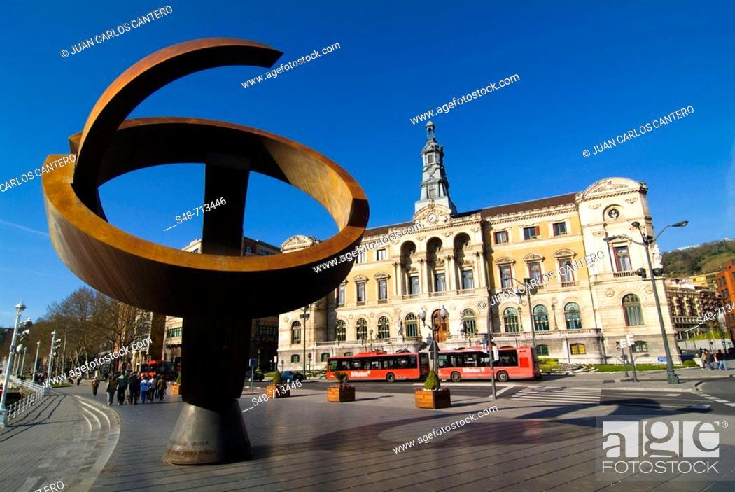 Stock Photo: 'Variante ovoide de la desocupación de la esfera', sculpture by Jorge Oteiza. City Hall. Bilbao. Bizkaia. Euskadi. Spain.