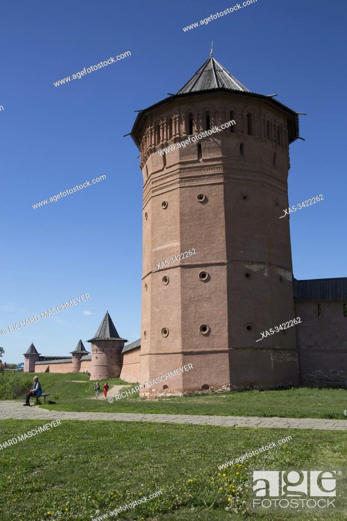 Stock Photo: Rampart Walls and Towers, Saviour Monastery of St Euthymius, UNESCO World Heritage Site, Suzdal, Vladimir Oblast, Russia.