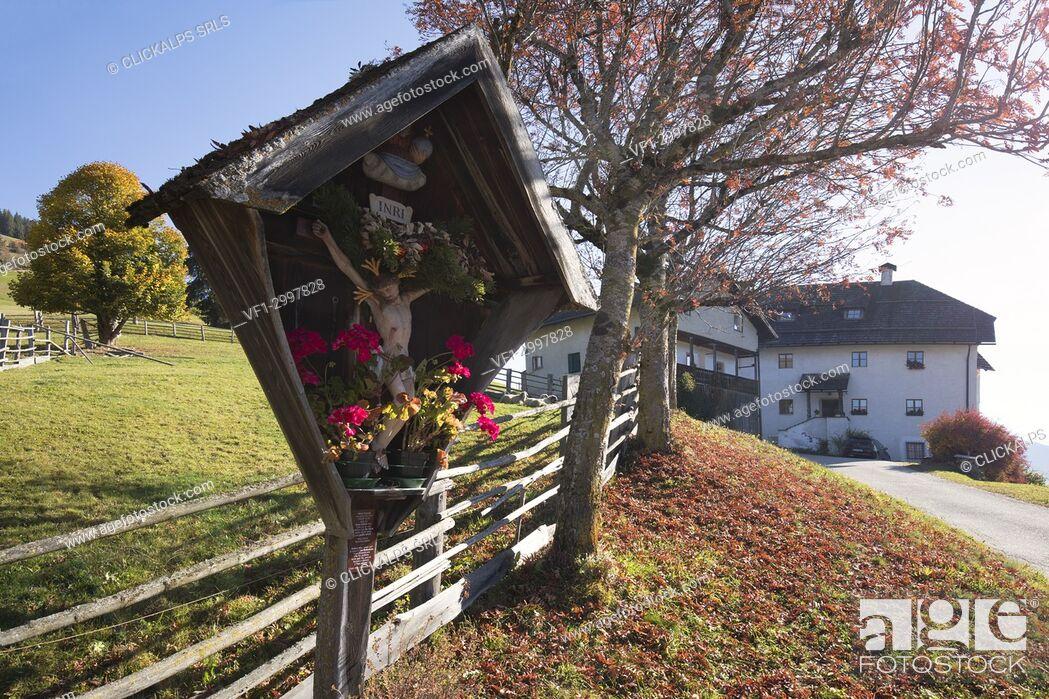 Stock Photo: traditional farm of south tyrol, Marebbe / Enneberg, Bolzano, Alto Adige, Südtirol, Italy.