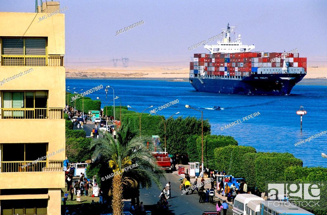 Stock Photo: Egypt, port said, Suez canal.