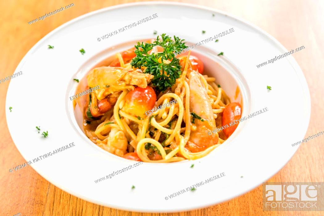 Stock Photo: Prawn Pasta with Lobster bisque sauce.