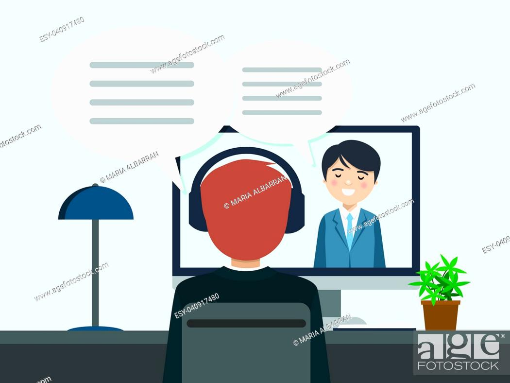 Stock Vector: Two people talking by videoconference. Vector illustration.