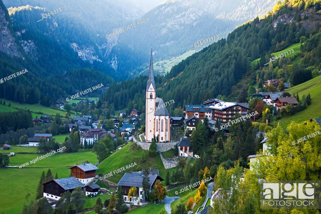 Stock Photo: Heiligenblut and Grossglockner, Austria.