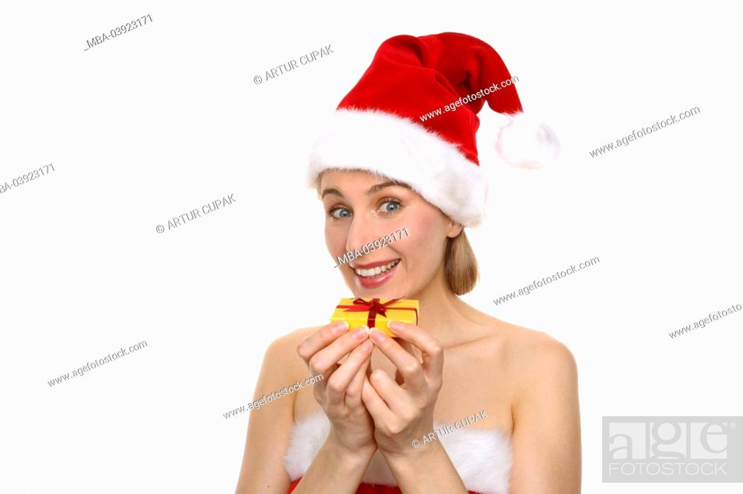 Stock Photo - Christmas-woman, gift, shows, smiling, semi-portrait, series, people, woman, disguise, outfit, Santa Claus costume, christmassy, Christmas ...