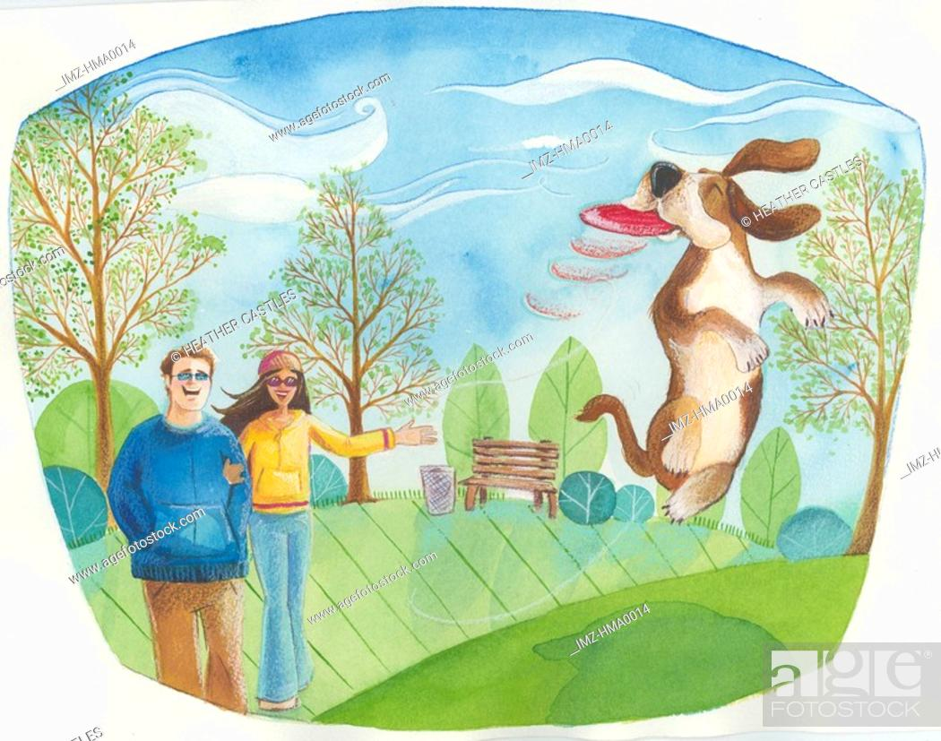 Stock Photo: a couple playing with their dog in the park.