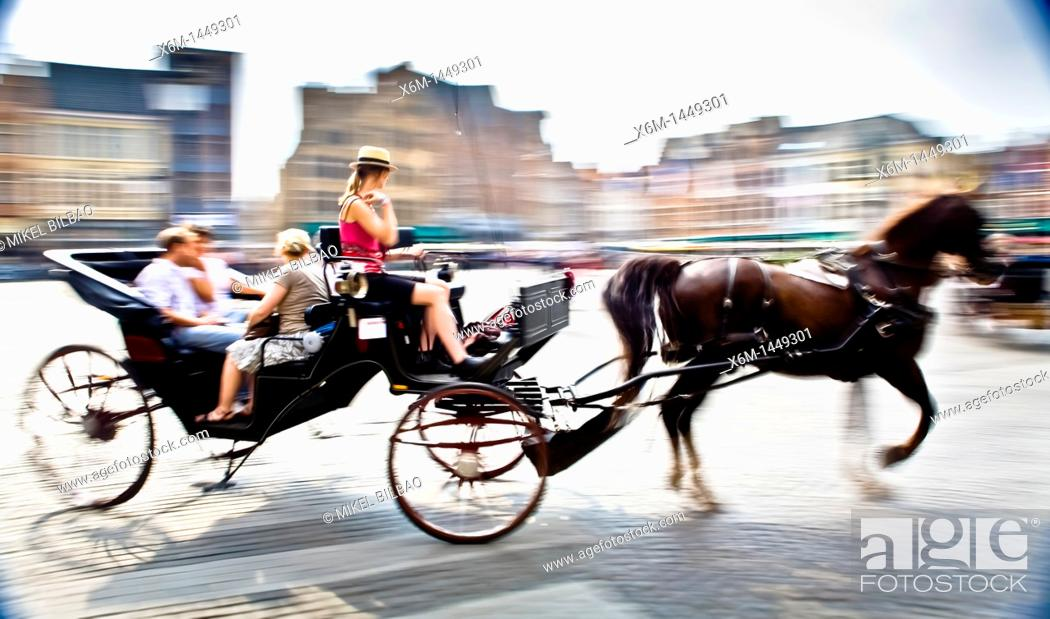 Stock Photo: Carriage in the Big Market square, Bruges, Wet Flanders, Flemish Region, Belgium, Europe.