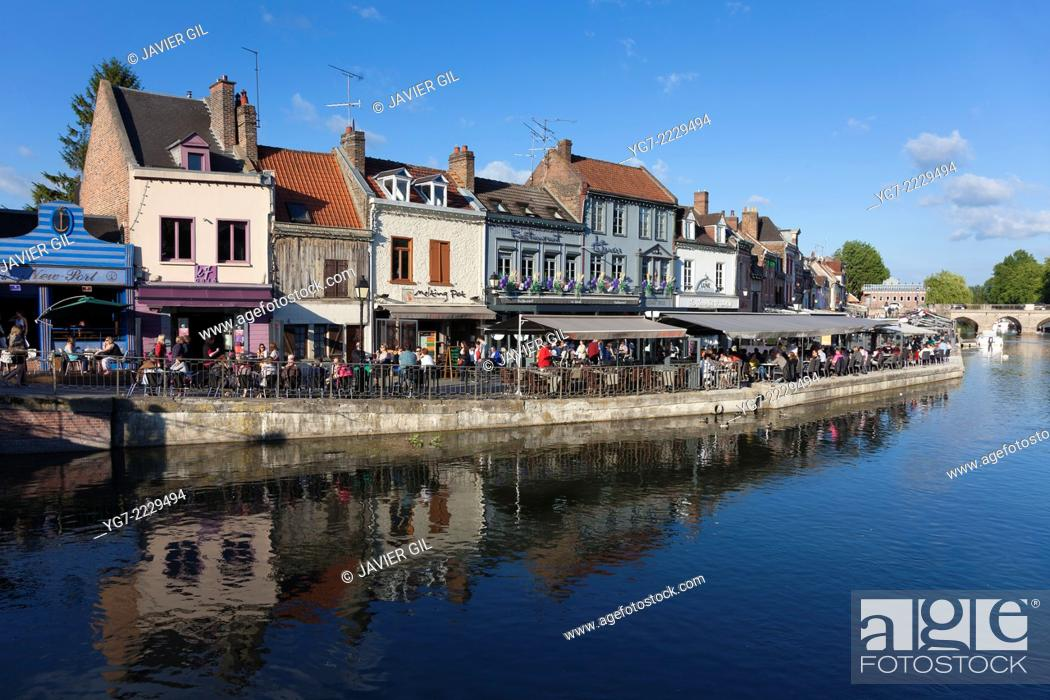 Stock Photo: Saint Leu neighbourhood in Amiens, Somme, Picardy, France.