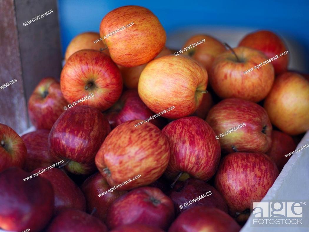 Stock Photo: Close-up of a heap of apples in a fruit carton, Providencia, Providencia y Santa Catalina, San Andres y Providencia Department, Colombia.