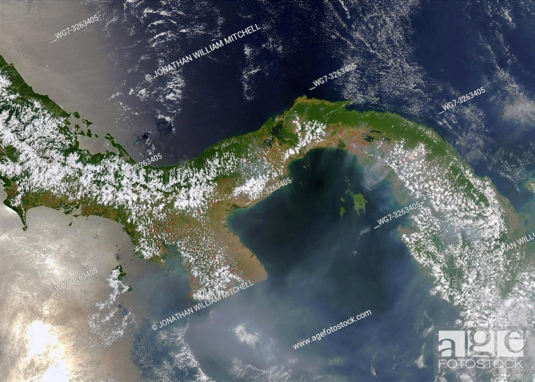 Stock Photo: EARTH Panama -- 28 Mar 2003 -- A few dozen fires (marked in red) burn in Panama, the narrow strip of land that connects North to South America.