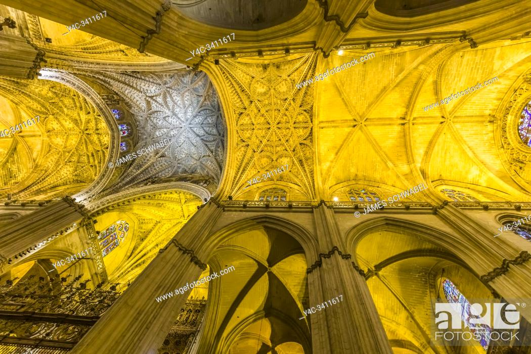 Stock Photo: The Cathedral of Seville also known as Cathedral of Santa Maria in Seville Spain.