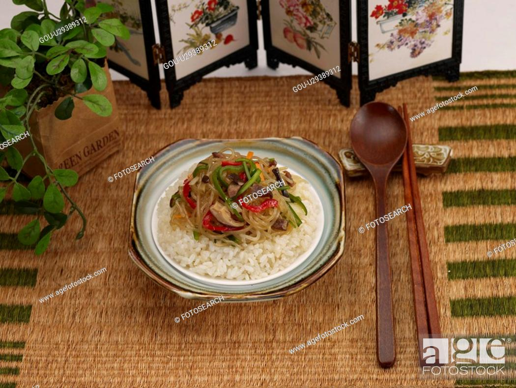 Stock Photo: Chinese Cuisine, Food styling, Chinese, dishes, dish, Rice, chop suey over rice.