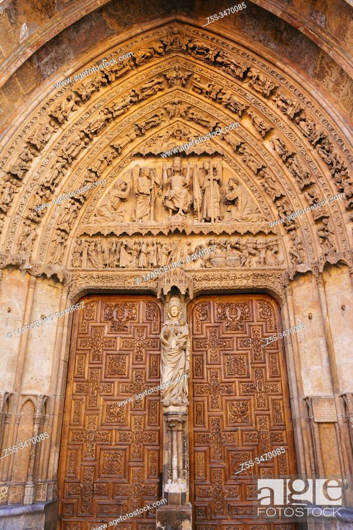 Stock Photo: Portal of the White Virgin or the Last Judgment. León's gothic Cathedral, also called The House of Light or the Pulchra Leonina. South facade.