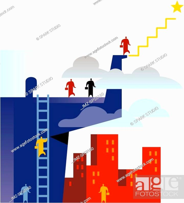 Stock Photo: An illustration of employees climbing the corporate ladder.