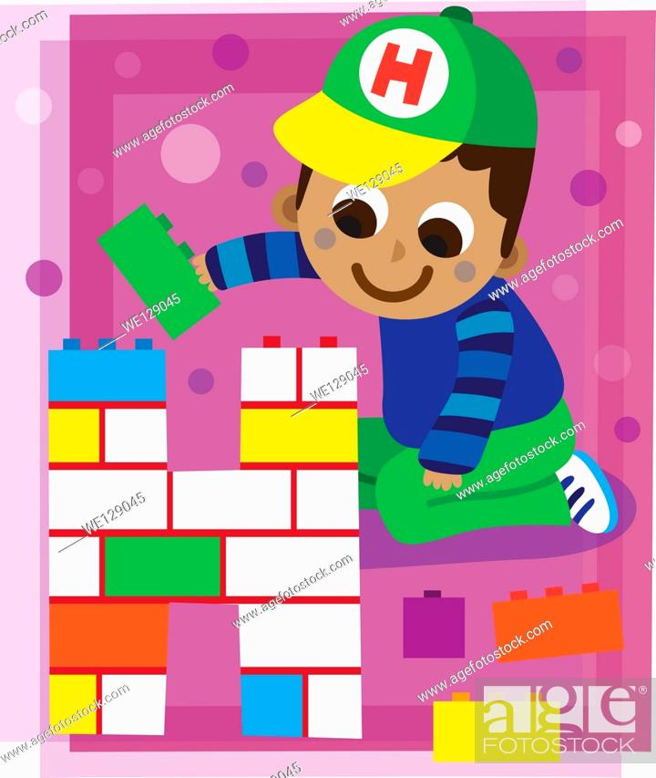 Stock Vector: Illustration of boy making letter h with blocks.