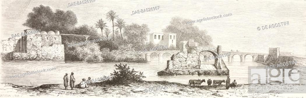 Imagen: Shores of Medjerdab, Tunis, Tunisia, drawing by Alexandre de Bar (1821-1908), from Voyage a Tunis (Afrique du nord) (1859) by Amabile Crapelet.